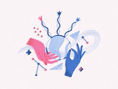 Hands hands abstract art flat surreal creative vector illustration design