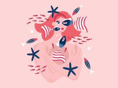 Girl with Fish procreate mermaid fish people woman character illustration girl
