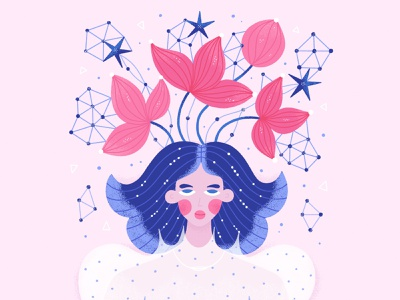 Girl with Red Flowers magic constellation astrology procreate flowers cosmic woman girl character design vector illustration
