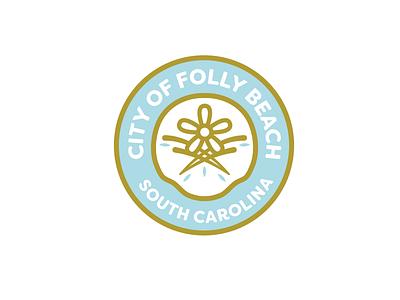 City Of Folly Beach roundel emblem flower sand dollar south carolina charleston folly beach government city