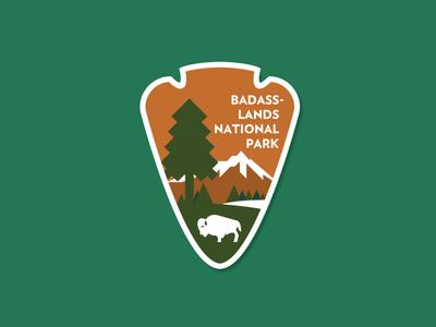 Badass-lands Nat'l Park trees national park trump politics united states arrowhead buffalo protest badge park badass