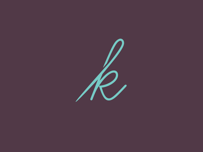 Sewing K needle logo letter k sewing