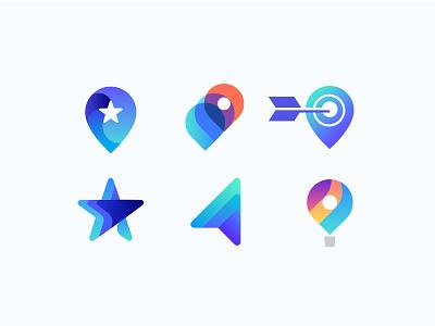 LifeHikes Concepts growth target hot air balloon north star navigation location pin logo icons