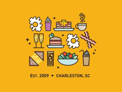 Black Magic Cafe - Brunch is Boss brunch magic line art vector illustration icons food charleston salad latte frappe iced coffee grilled cheese burger mimosas cafe coffee pancakes bacon breakfast