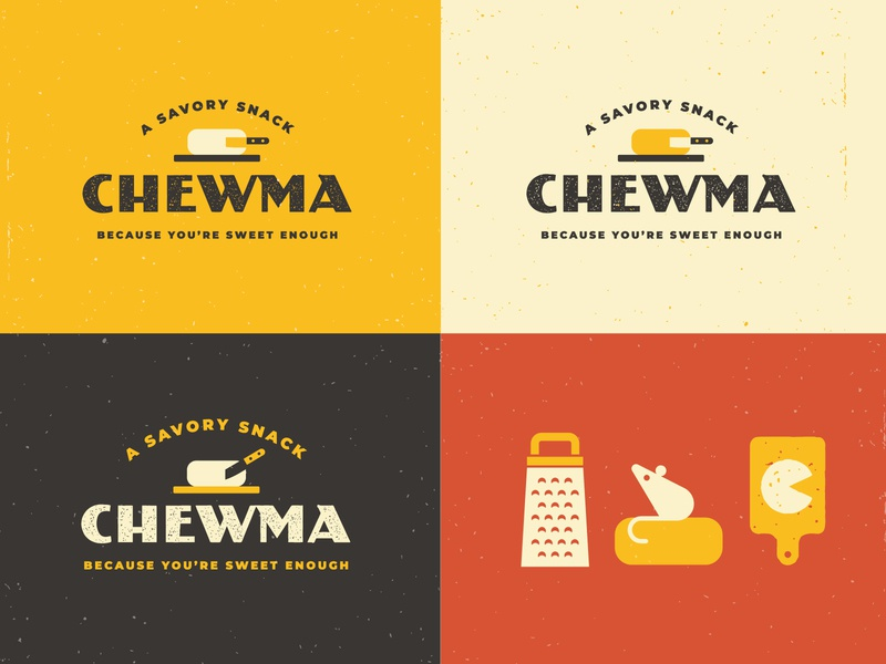 Chewma Branding logo cheesy snack cutting board mouse parmesan cheese keto branding