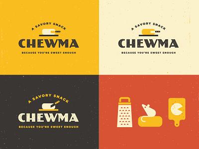 Chewma Branding logo cheesy snack cutting board mouse parmesan cheese keto branding