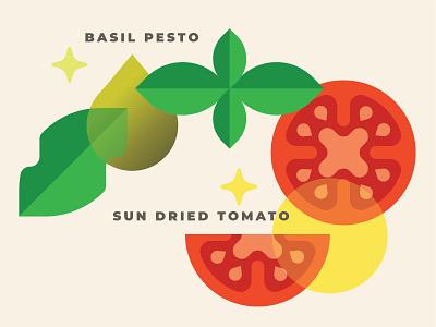 Chewma ingredients basic geometric vector art veggies snack ingredients flavors tomato sun dried pesto basil