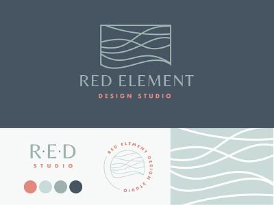 Red Element Branding coastal seacoast waves pattern interior design branding logo