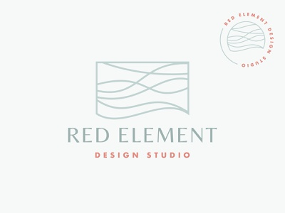 Red Element Full Logo interior design coastal waves logo branding
