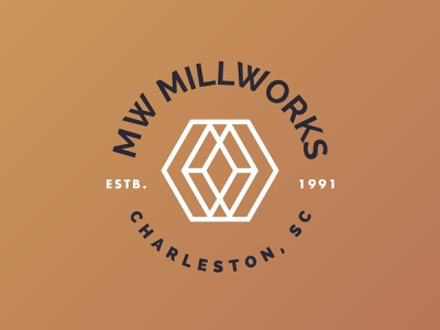 MW logo concept mill woodworking carpentry millwork wood mark vector geometric branding