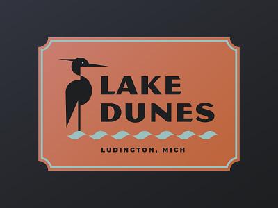 Lake Dunes magnesium branding logo geometric bird blue heron heron dunes michigan great lakes