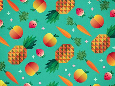 Summer Pattern summer fresh color fruit veggies apple peach strawberry pineapple carrot magic
