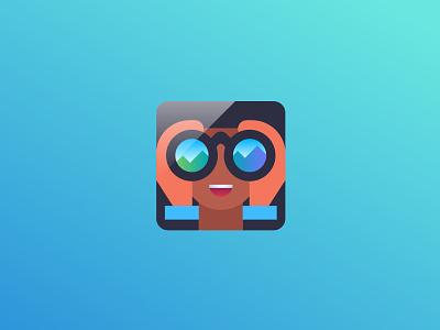 Hiker bingo mountains vision journey hiker logo app vector icon binoculars