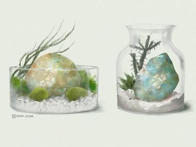 Terrarium - white illustration gem quartz decoration stones cactus plants terrarium bottle glass