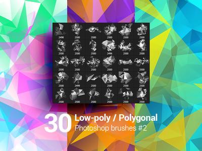 30 Low-Poly / Polygonal / Geometrical Photoshop Brushes #2
