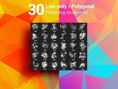 30 Low-Poly / Polygonal / Geometrical Photoshop Brushes #3