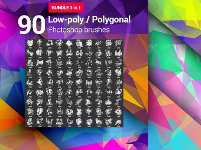 90 Low-Poly / Polygonal / Geometrical Photoshop Brushes Bundle