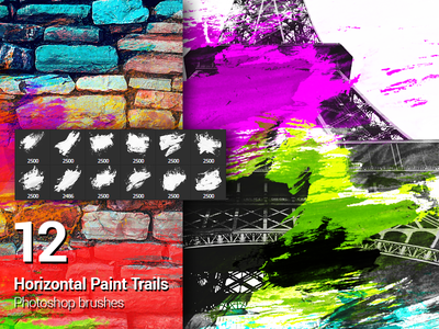 12 Watercolor Paint Splatters Photoshop Brushes