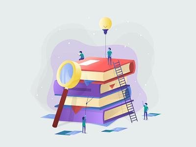 Digital Education app digital vector artwork vector book illustation web education