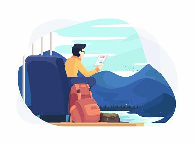 The Traveller Boy people illustration backpack flat booking hotel landscape lake traveller travel