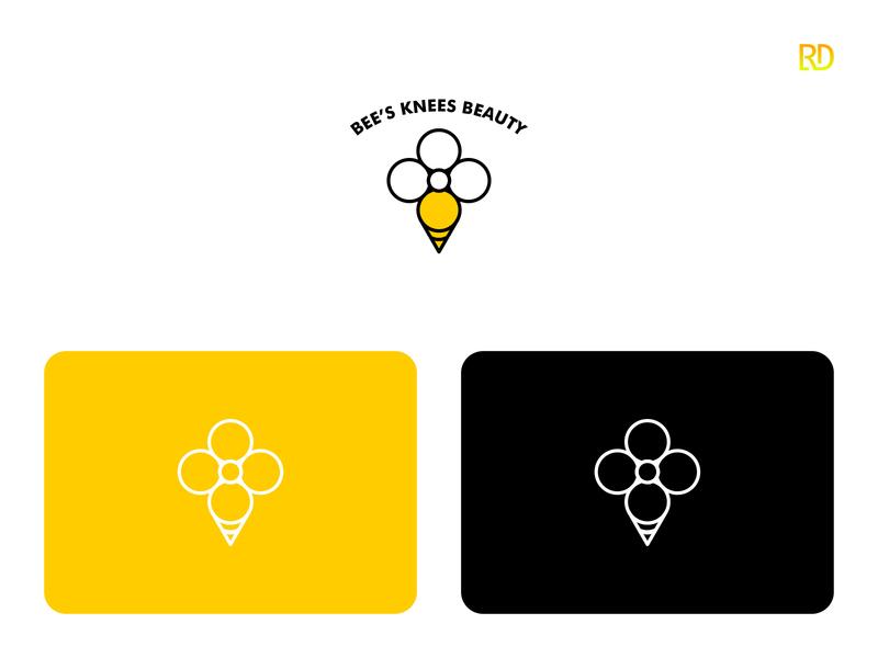 Bee Logo honey yellow vintage modern woman icon emblem beautiful salon beauty boutique honeybee bee branding logodesign logo