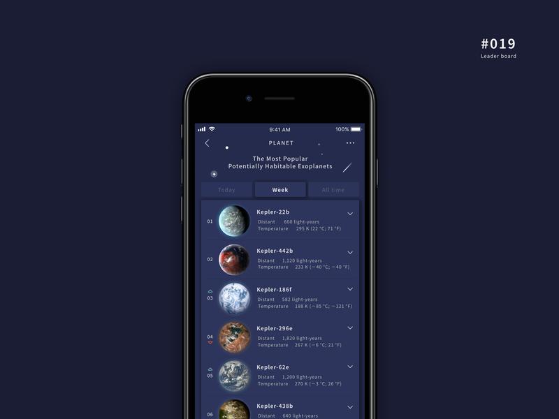 UI 019 button rank board stars planet leader board leaderboard 19 019 daily 100 challenge app design uidesign ui dailyui