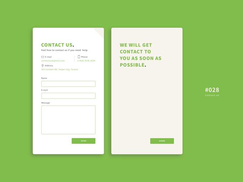 UI 028 green contact contact us contact page ui 100day 28 028 ui028 button daily 100 challenge app design uidesign ui dailyui