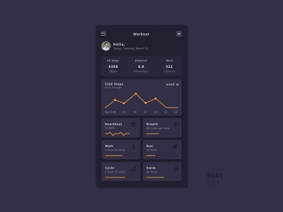UI 041 exercise workout tracker workout workout app 41 041 daily challange daily 100 button daily 100 challenge app design uidesign ui dailyui
