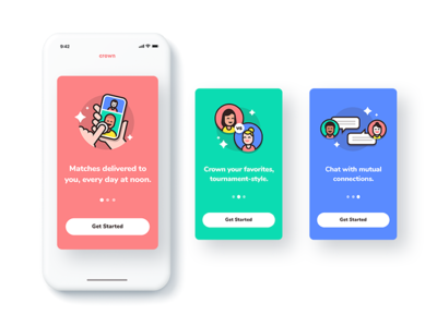 Crown: dating app - on-boarding cards onboarding illustration art ux ui crown app branding brand dating
