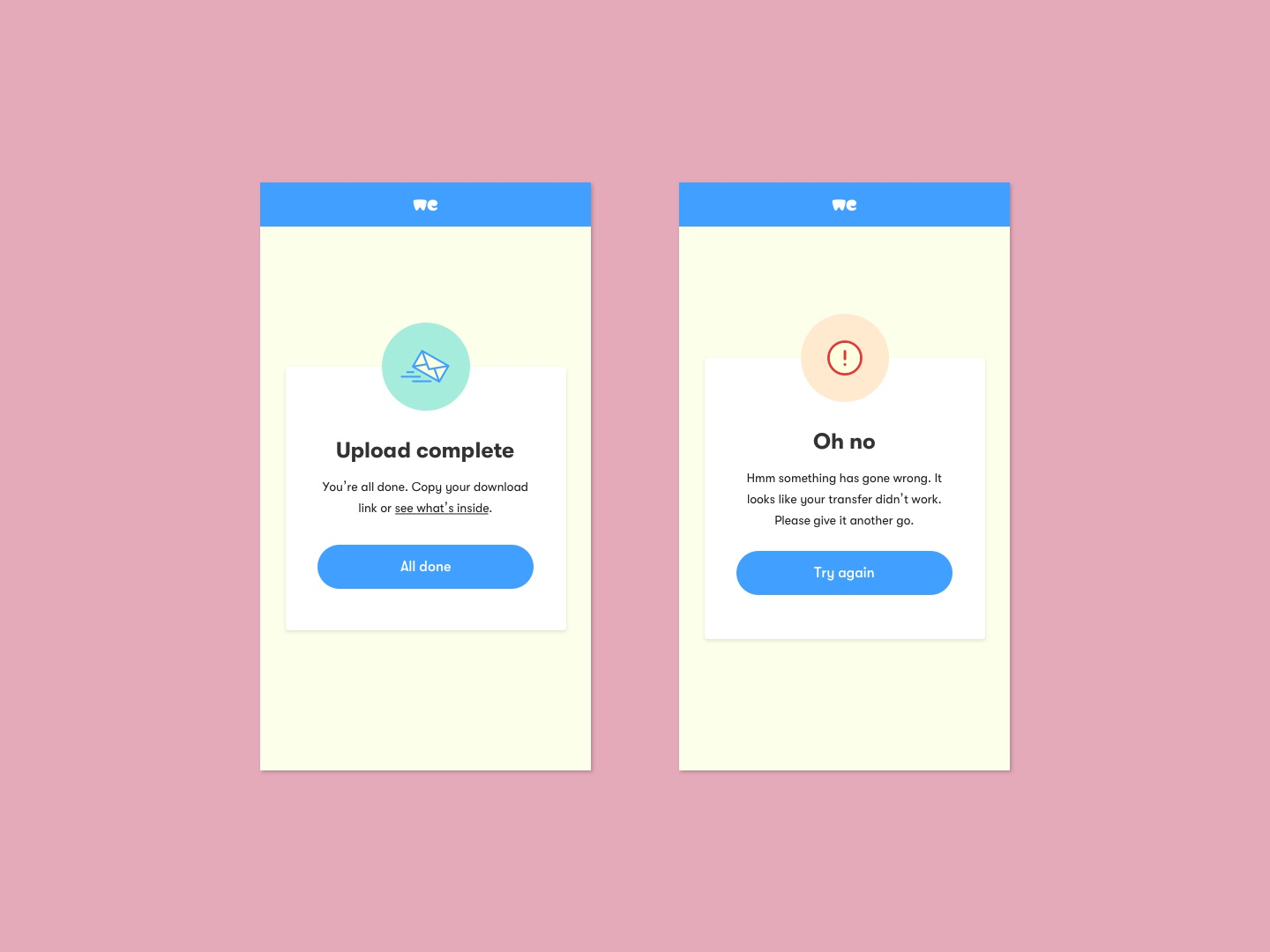 Day 11 - Alerts - WeTransfer ui dailyuichallenge dailyui 100days
