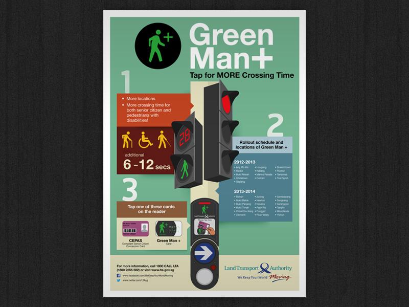 Green Man + green man plus land transport authority singapore street road transportation public