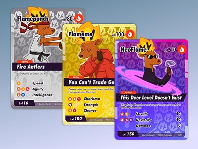 Flamedeer NFT cards cartoon cards design character design affinity designer character illustration