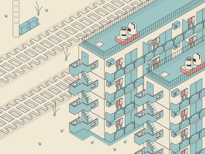 電車 (Densha / Train)Simple Loop Animation simple isometric illustration isometric art isometry japan loop weed train apartment animation blue modern minimal illustration design vector