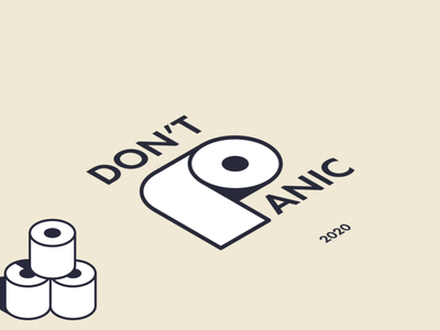 Don't Panic 2020 panic 2020 toilet paper animation simple minimal illustration vector design