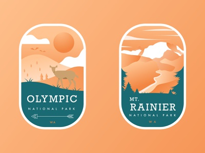 Washington State National Park Badges pacific northwest orange sunset park national park washington seattle sun mountain tree deer badge pnw travel nature modern simple illustration vector design