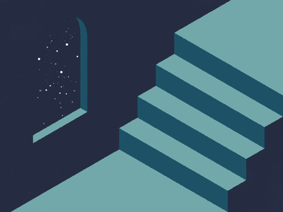 Ball and Stars loop window stairs stars ball gif animation modern simple minimal illustration vector design