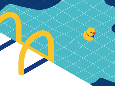 Puka Puka gif loop duck poolside yellow water pool blue animation simple minimal illustration vector design