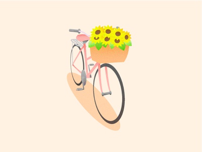 Basket nature sunflower pink noise flowers bicycle simple illustration vector design