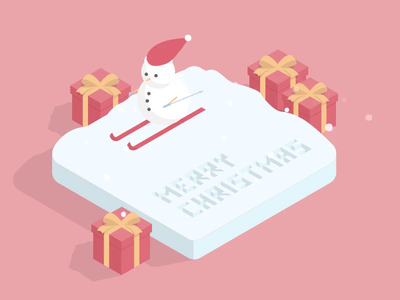 Merry Christmas 2020 santa ski webdevelopment present gift snowman christmas hover effect gsap animation simple illustration vector design hover