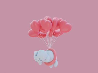 Floating Cat baloons baloon blender 3d art 3d animation 3d animal cat heart modern animation minimal simple illustration design