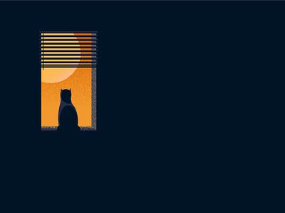 Waiting blinds window waiting sunset animal cat modern simple minimal design vector illustration