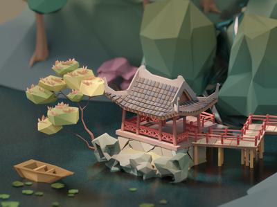 A Pavilion in a Lake illustration blender biulding architechture 3d