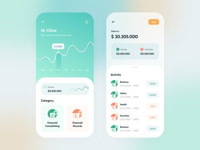 Qoolec - Financial Planner ios chart graph finance green user experience mobileapp banking app finance app gradient mobile ui design minimal user interface clean design app ux clean ui design