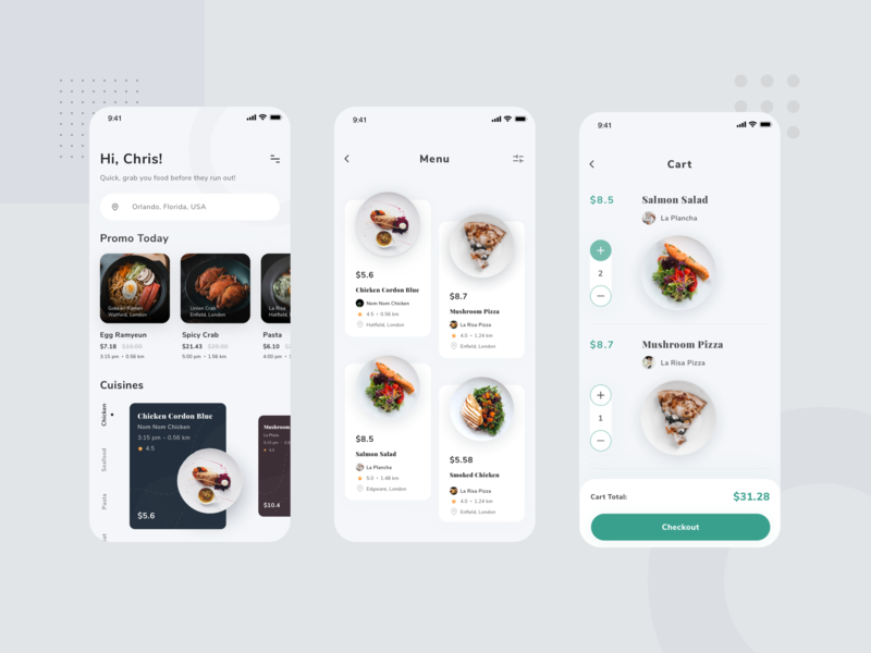 Food App food app clean design app design ux ui