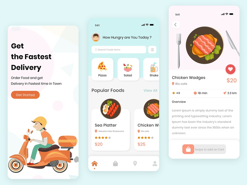 Food delivery truck delivery app delivery vector illustration portfolio ui  ux ui design food and drink ui food
