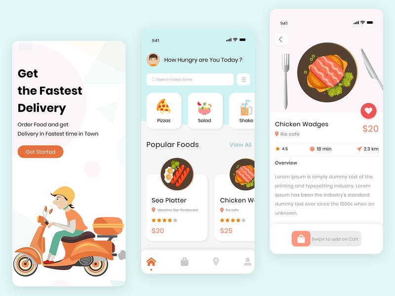 Food delivery truck delivery app delivery vector illustration portfolio ui  ux ui design food and drink ui food