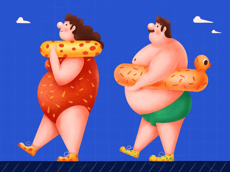Fat Man And Fat Woman illustrator illustration design