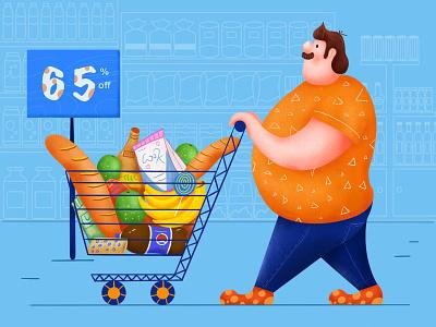 Fat Man Go Shopping illustrator illustration design