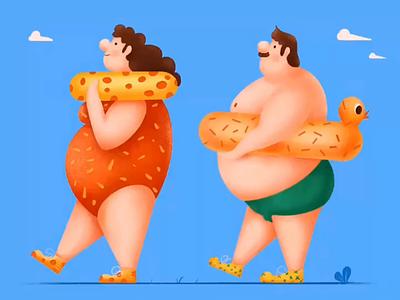 Fat Man And Fat Woman Process illustrator design illustration