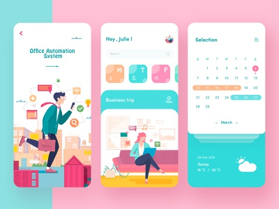Office Automation App Pages app ux ui design